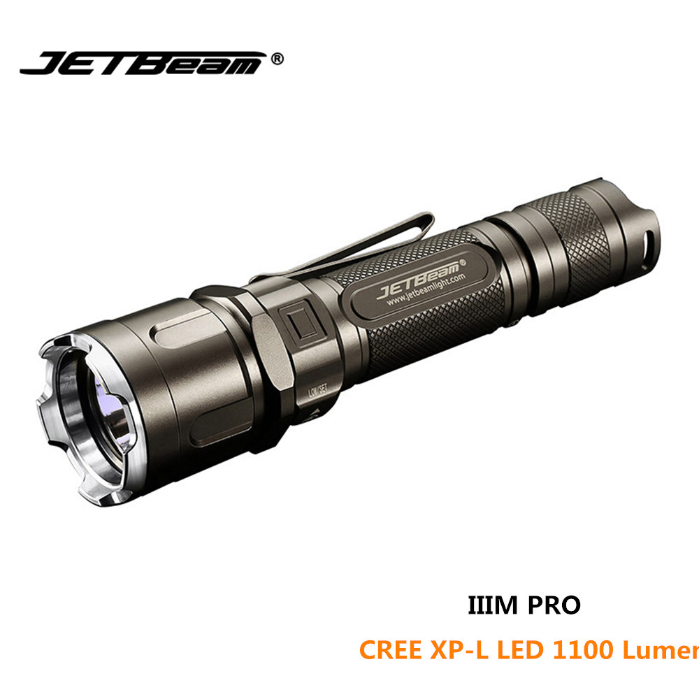 Tactical torch JETBEAM IIIM PRO CREE XP-L LED 1100 lumens beam distance 320 lumens waterproof flashlight for law enforcement lumens