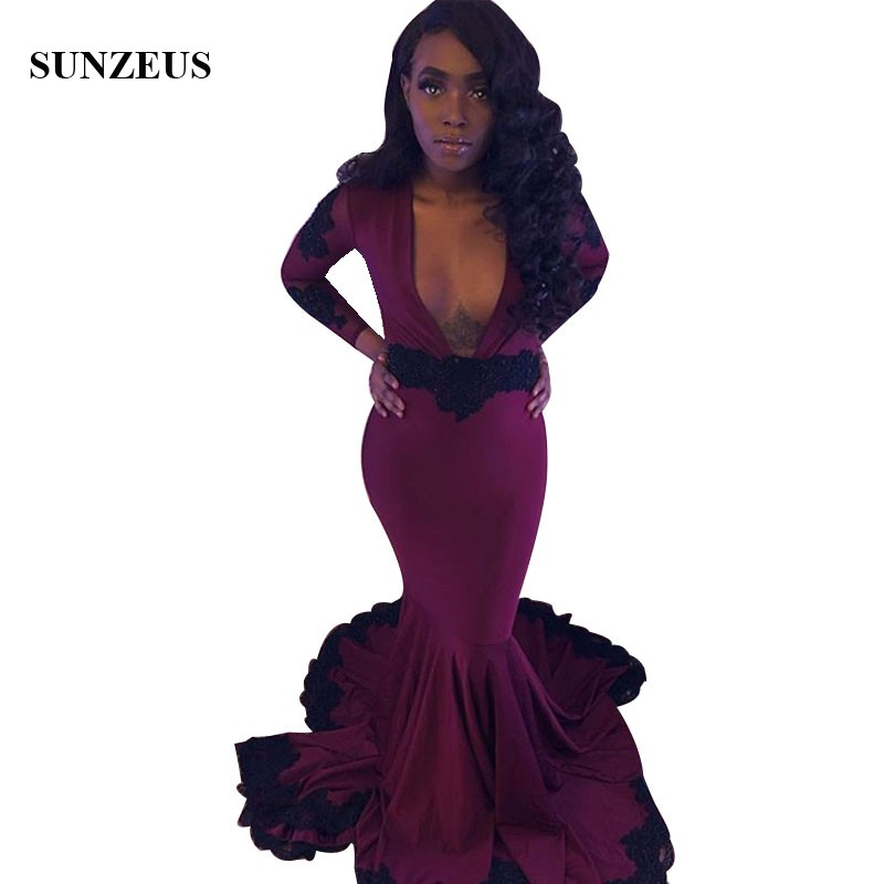 Mermaid Burgundy   Prom     Dress   With Black Appliques Lace Long Sleeves Deep V-neck Sexy Party Gowns Vestidos De Cerimonia