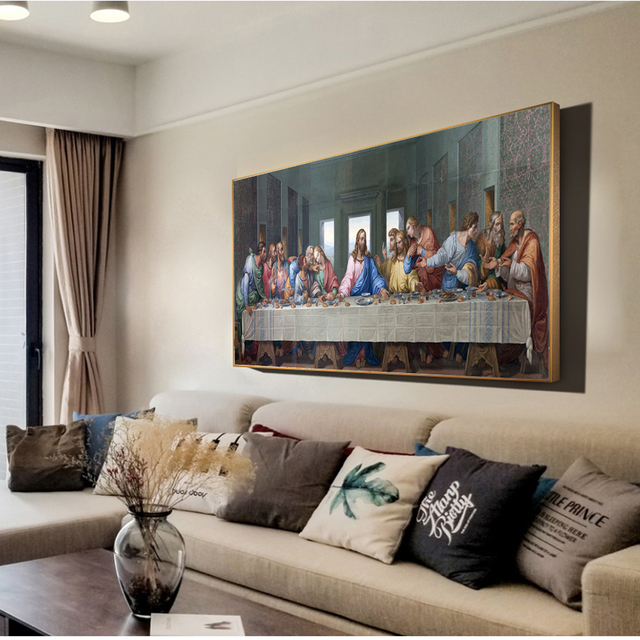 Da Vinci Last Supper Paintings Reproductions On Wall Art Canvas Prints Christian Decorative Pictures