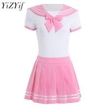 YiZYiF נשים סקסי קוספליי הלבשה תחתונה תלמידה אחיד תלמיד Romper עם מיני חצאית אנימה תפקיד לשחק תלבושות חליפה
