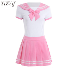 YiZYiF kobiety seksowna bielizna Cosplay uczennica mundurek szkolny Romper z Mini spódniczką anime do odgrywania ról kostium