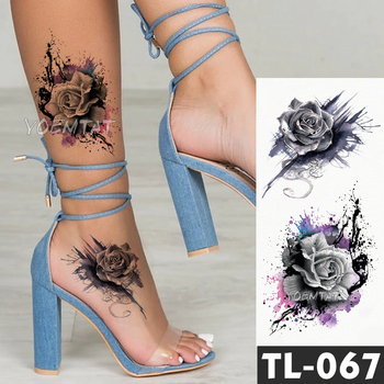 Water Transfer Dark splash ink realistic roses Temporary Tattoo Sticker Arm leg back Pattern body art Waterproof Fake tattoo