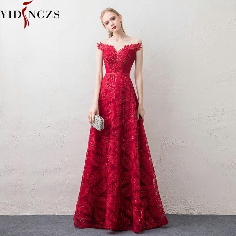 5f0776c65f2b819 YIDINGZS бордовый вечернее платье элегантный v-образный вырез с рукавом с  блестками бисером вечерние длинные
