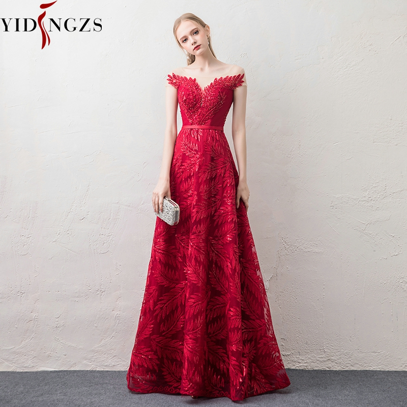 YIDINGZS Burgundy   Evening     Dress   Elegant V-neck Cap Sleeve Sequins Beading Party Long   Evening     Dresses
