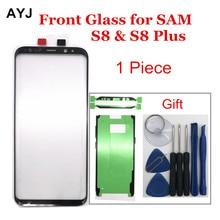 Tela de substituição para samsung galaxy, tela de vidro ayj para s8 s9 plus, display lcd, touch frontal, adesivo de lente externa, 1 peça ferramentas de reparo