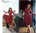 2016 nueva ropa de navidad otoño rojo a-line dress mujeres o-cuello de manga larga a cuadros arco de los vestidos ocasionales vestidos