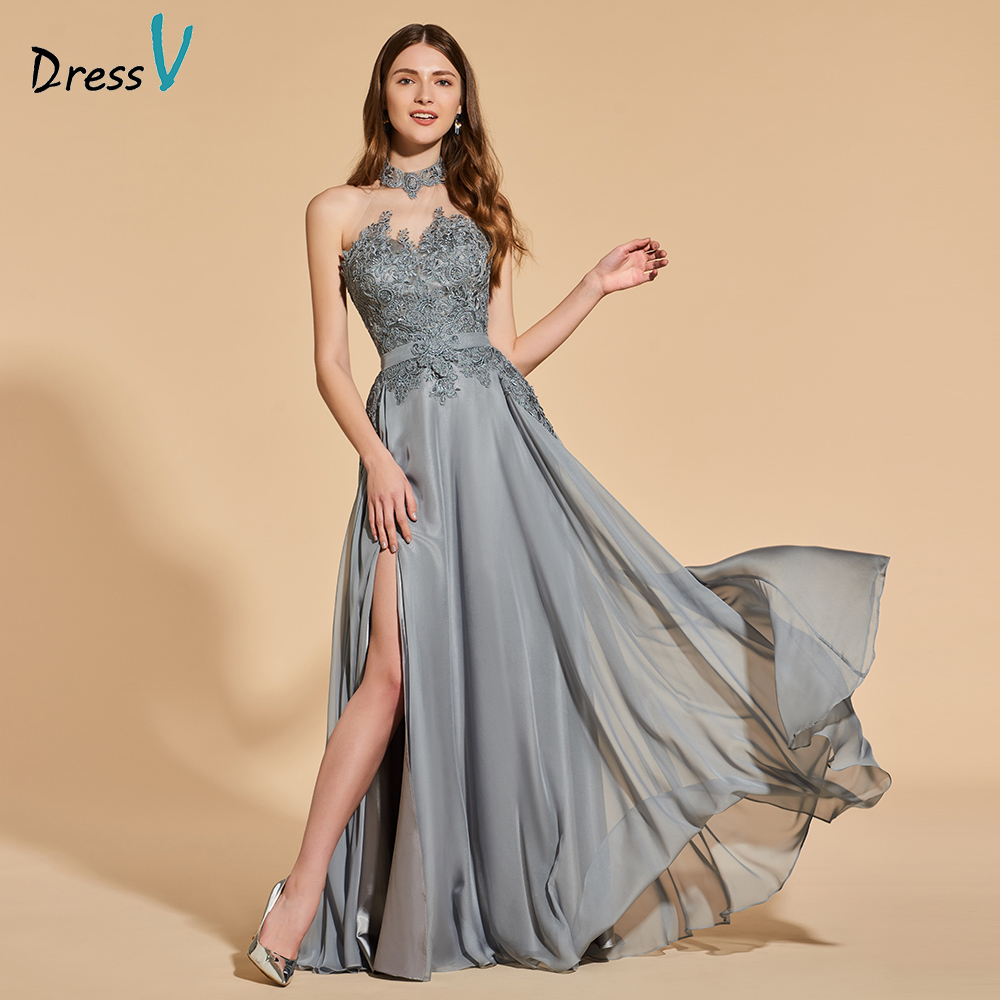 Dressv Evening Party-Gown Light-Grey Appliques Backless Long Sleeveless Simple A-Line