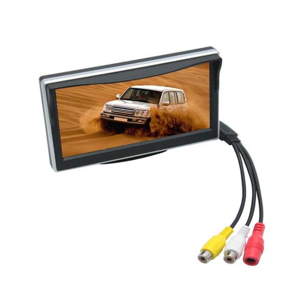 Neueste 5 Inch TFT-LCD Auto Display Digitale HD-Monitor Auto Parkplatz Backup Reverse 2-Ch AV Eingang Breite Spannung Monitor Mit halterung