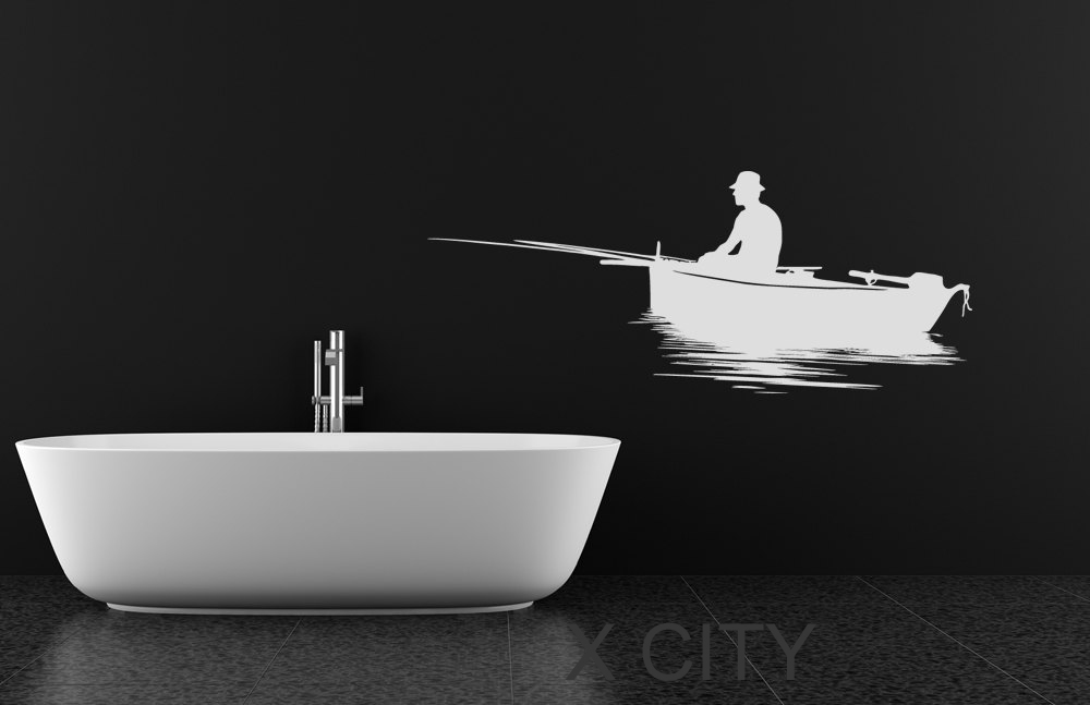 Fisherman Silhouette WALL <font><b>ART</b></font> <font><b>STICKER</b></font> VINYL DECAL DIE CUT BATH ROOM STENCIL <font><b>MURAL</b></font> <font><b>HOME</b></font> DECOR