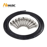 ALLMusic Solderless Connections Design Guitar Cable DIY Guitar Pedal Patch Cable kit 10 Solderless Chrome Cap Plug 3M Cable