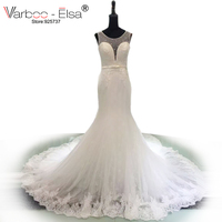 VARBOO ELSA Elegant Bow Romantic Wedding Dresses Sexy Hollow Out Mermaid Wedding Gown Beaded White Lace