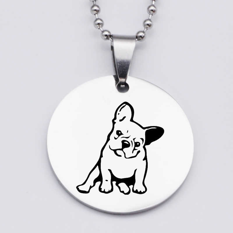 316L Stainless Steel French Bulldog Pendant Necklace Lovely Animal Dog Print Dog Lover Gift Jewelry Drop Shipping YLQ6116