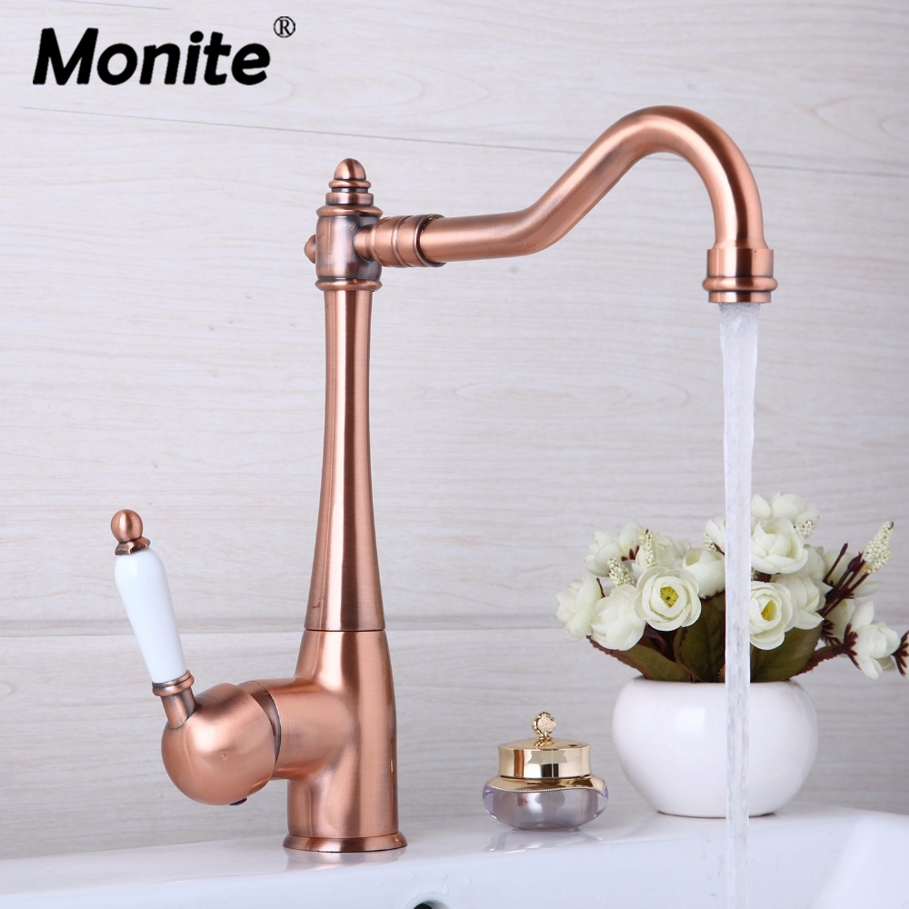 Kitchen Faucets Swivel Antique Copper Deck Mounted Mixer Tap Bathroom Faucet Basin Mixer Hot Cold Tap Faucet-in Kitchen Faucets from Home Improvement ...