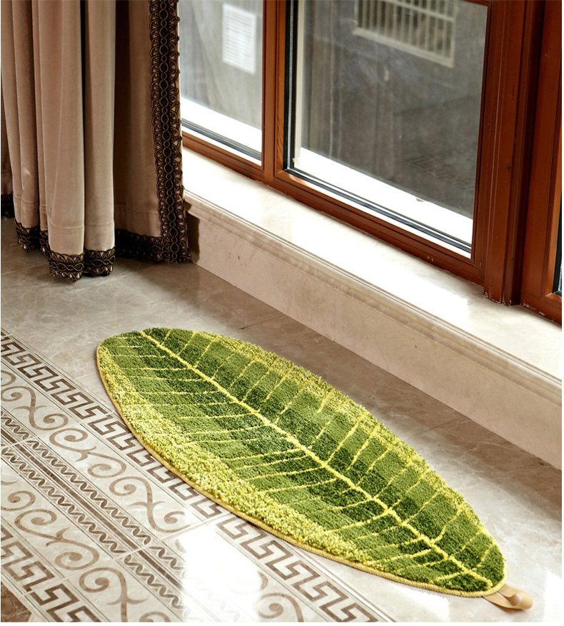 Modern Kitchen Rugs And Carpets Green Leaf Floor Mat Anti Skid Carpets For Living Room