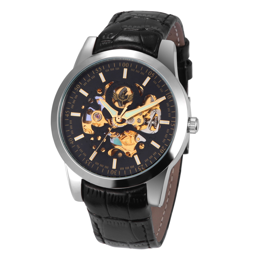 Paradise 2017 Hot 1PC Men 100% brand new PU Leather Band Skeleton Mechanical Wrist Watch water resistance wholesale  July22 cat paradise vol 1 v 1