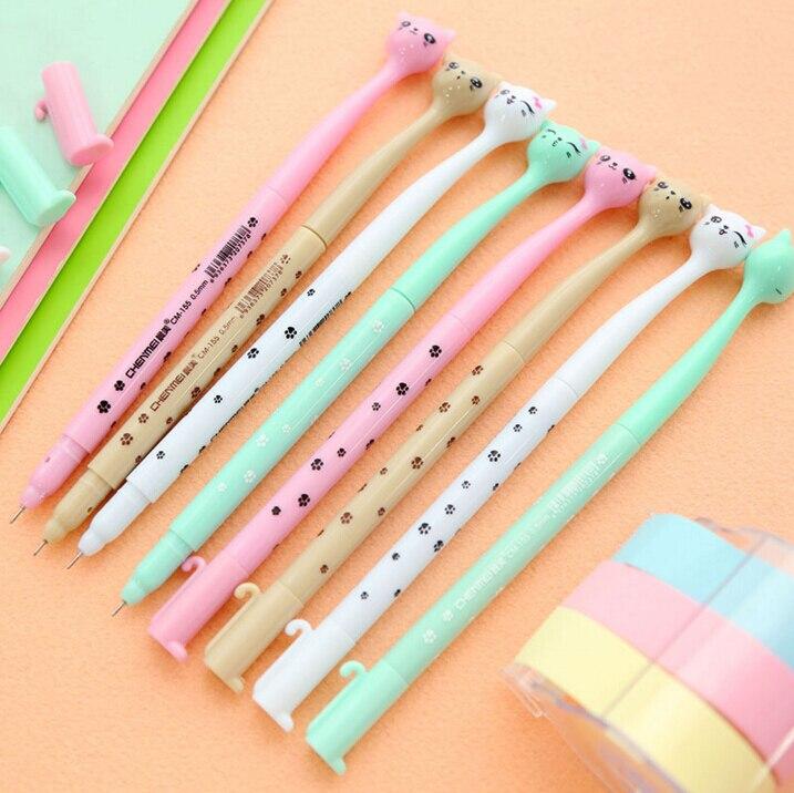 0.5mm Cute Candy Color Bow Cat Gel Ink Pen Maker Pen School Office Supply Escolar Papelaria