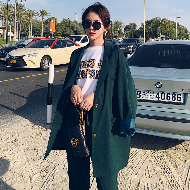 Set female 2019 fashion new women 39 s suit Korean version of the large size loose suit jacket nine points wide leg pants two piece in Pant Suits from Women 39 s Clothing