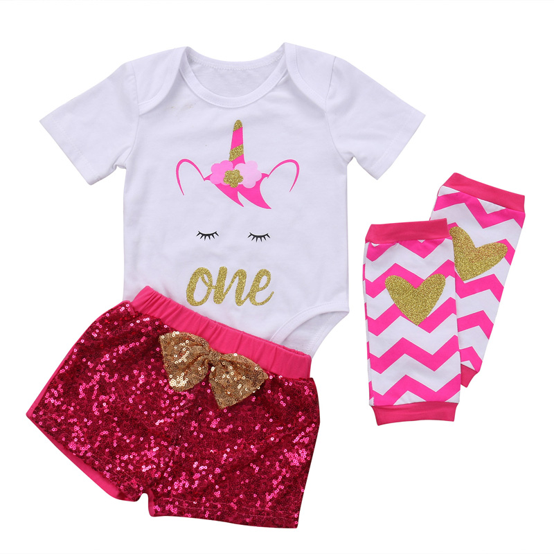 New Fashion CA Unicorn Infant Baby Girls Clothes Short Sleeve Romper Tops+Sequins Pants Outfits Headband Set Party Clothes