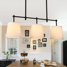 Modern Lustres Chandelier Fabric Lampshade Light Fixtures Living Room Kitchen Lamp Decor Home Lighting Black Copper Metal E14