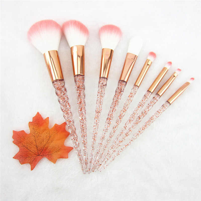 8pcs Red Glitter Diamond Brush Crystal Makeup Brushes Set Foundation Blending Power Eyeshadow Brush Cosmetic Beauty Make Up Tool