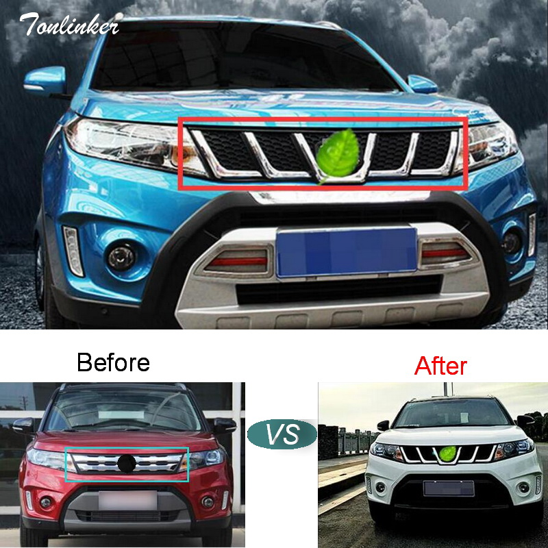 Tonlinker Cover case Stickers for SUZUKI Vitara 2016 Car Styling 1 PCS exterior parts Refit front face decoration racing grills car front bumper mesh grille around trim racing grills 2013 2016 for ford ecosport quality stainless steel