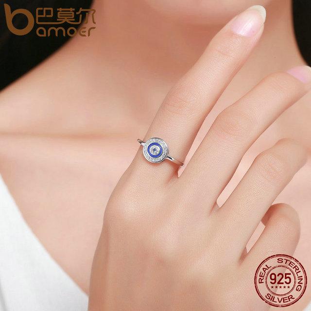 BAMOER Autentica Al 100% 925 Sterling Silver Lucky Occhi Azzurri Donne Anello di Barretta Wedding & Anello Di Fidanzamento Dei Monili SCR208