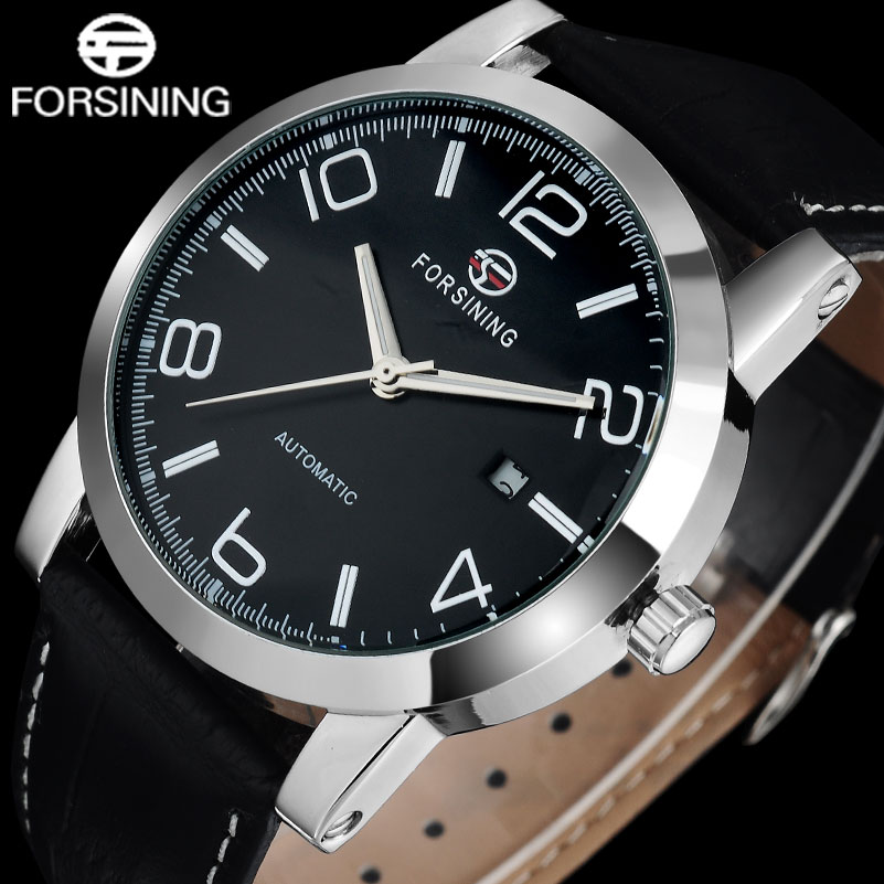 FORSINING brand business men mechanical watches genuine leather band casual men s automatic watches male clock