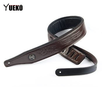 YUEKO Brown High-quality Leather Guitar Strap Comfortable Acoustic Electric Bass Accessories