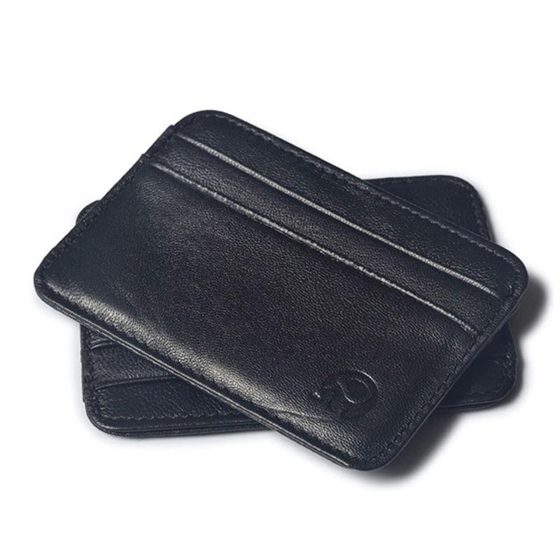 Súper delgada Cartera suave 100% piel de oveja cuero genuino mini tarjeta de crédito monedero monedero tarjeteros Hombres Cartera ¡Delgada pequeña!