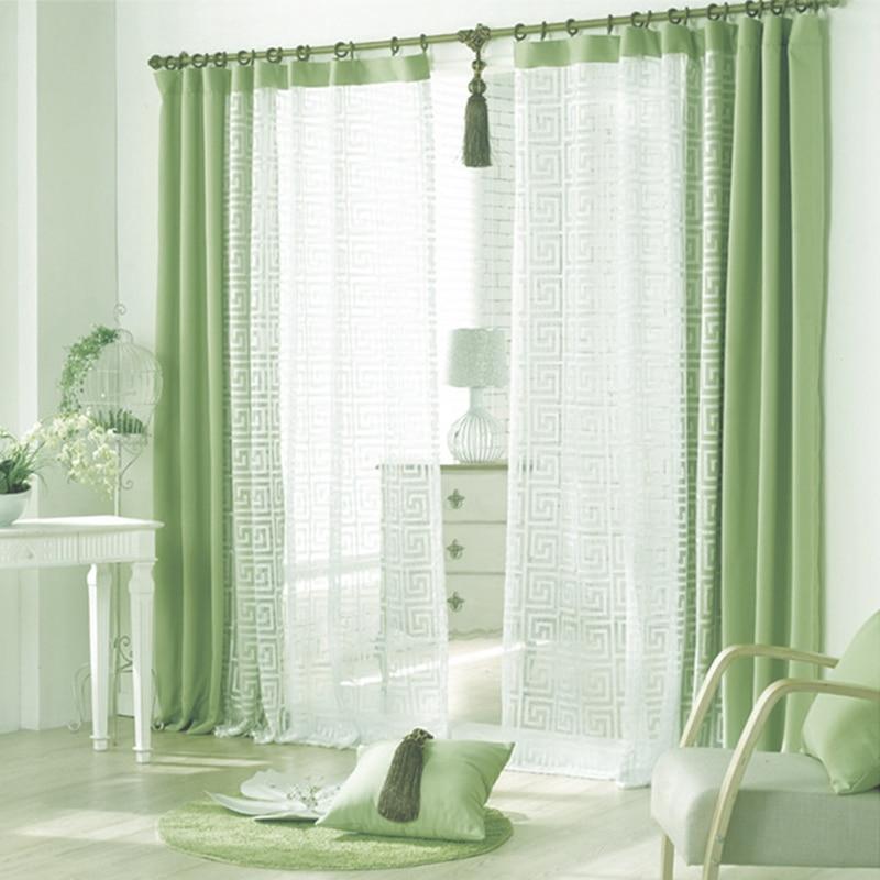 pura cortina cortinas de la ventana de tela verde y blanco para el dormitorio sala de