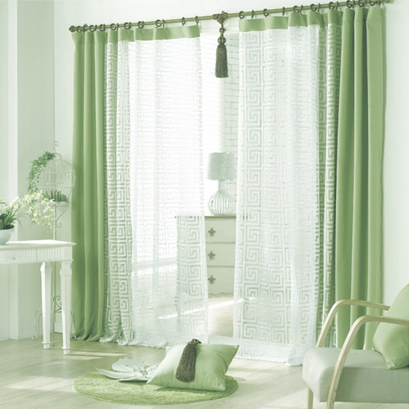 curtain green cloth and white voile window curtains for living room