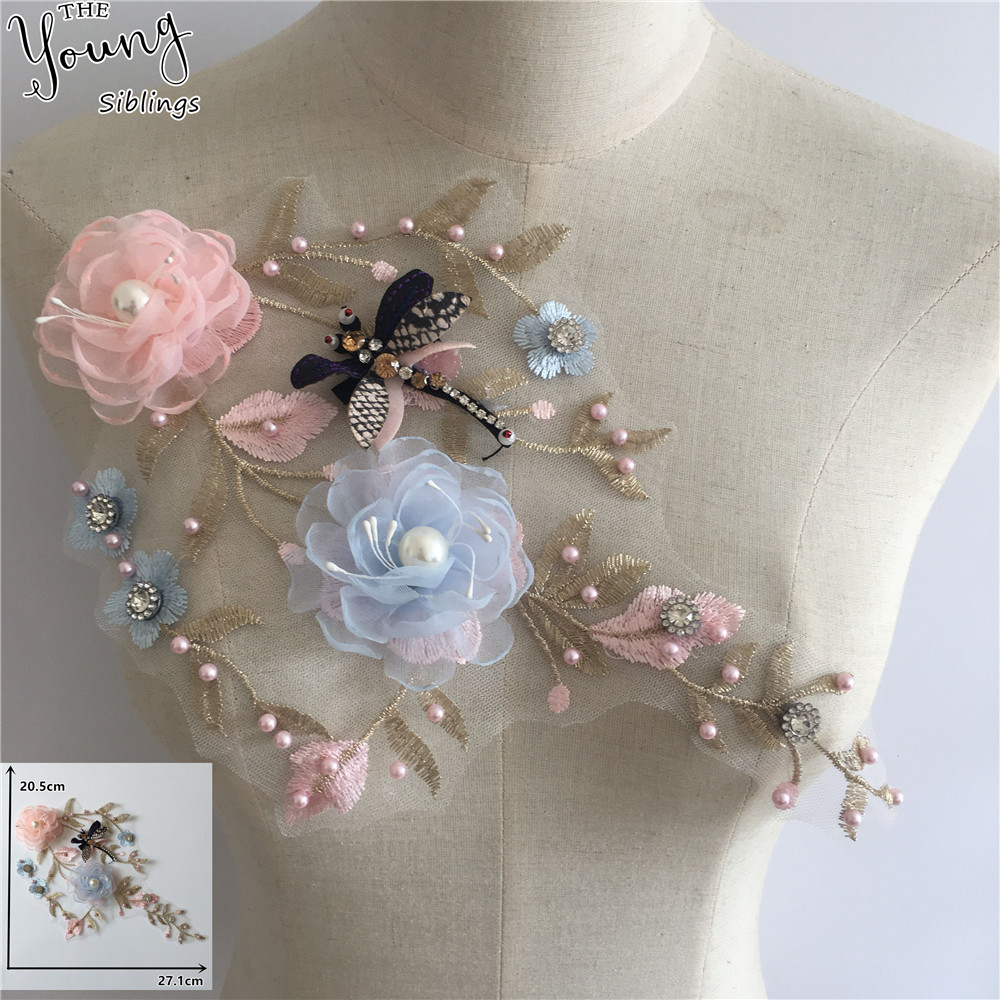 Новое поступление вышивка 3D цветок ABS жемчуг кружевной воротник DIY Стразы декольте тюль ткань платья декоративные аксессуары