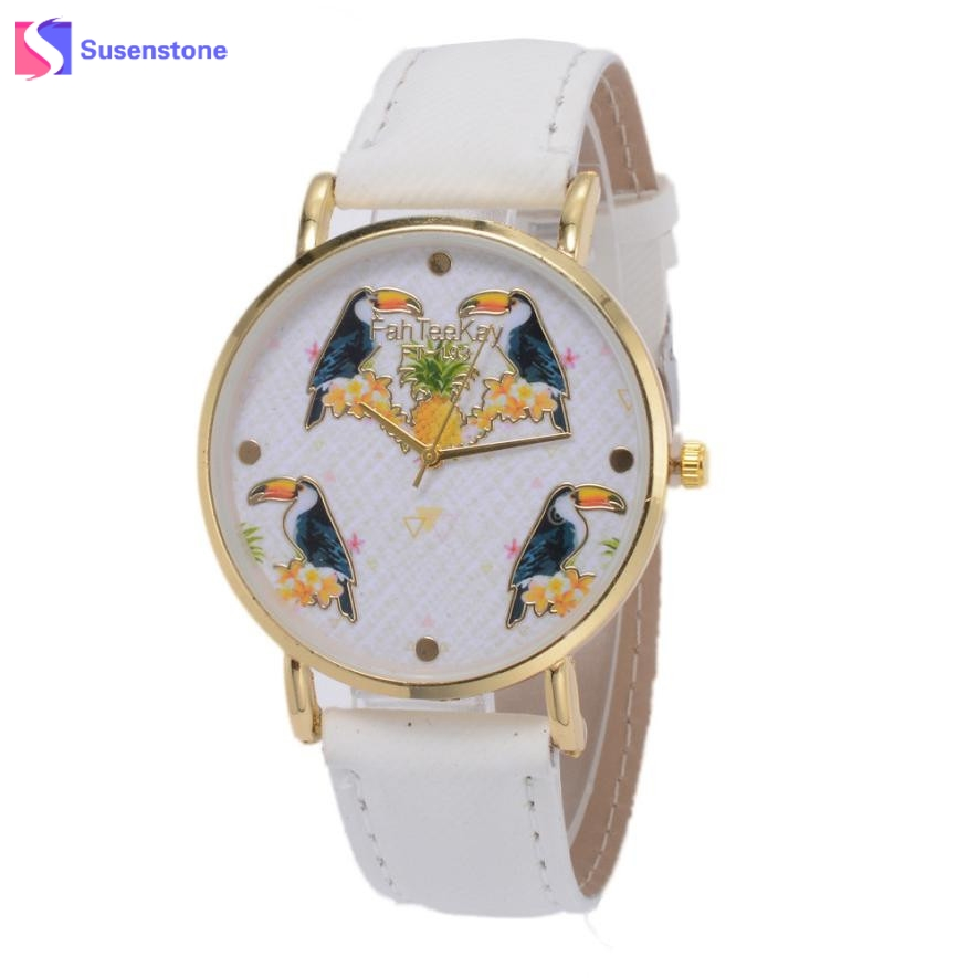Men Women Unisex Canvas Band Analog Quartz Wrist Watch Parrot Birds Pattern Ladies Casual Sport Watches Relogio Feminino