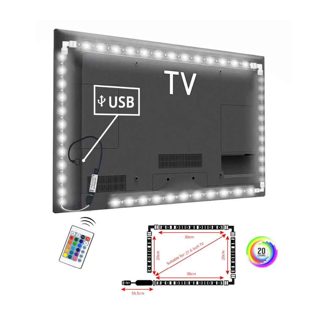 LED Licht 5 v USB Keuken Slaapkamer TV Backlight Luces LED 5050SMD RGB LED Lamp voor PC HDTV Achtergrond Vooringenomenheid decor Verlichting Lamparas