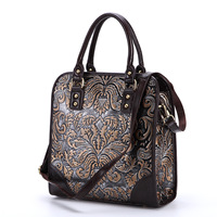 The new Ways Genuine Leather retro leather hand bag shoulder bag rub color embossed craft handbags Leisure portable briefcase