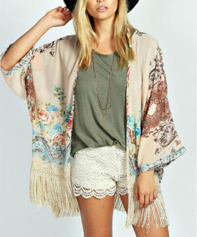 Women floral tassel chiffon loose Kimono outwear CT942