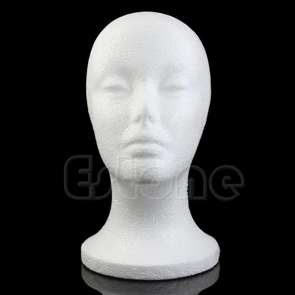 ¡Caliente! Mujeres de poliestireno maniquí cabeza de maniquí modelo de espuma Peluca de pelo sombrero de gafas de exhibición blanco 1 pieza