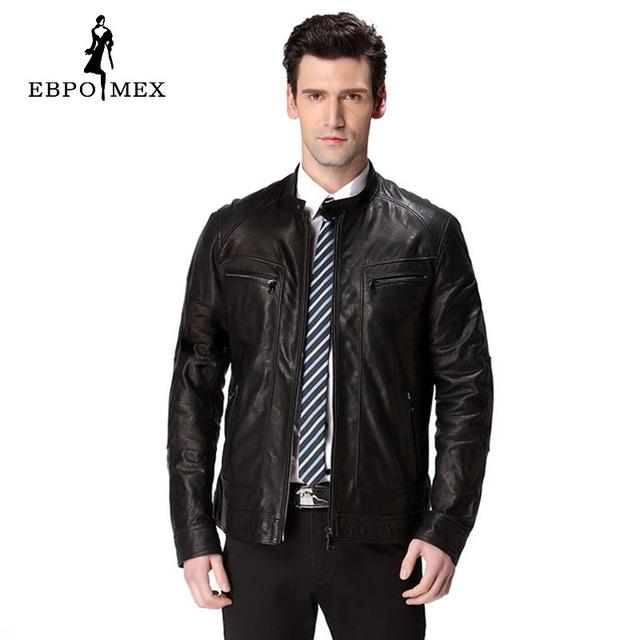 2016 venta Caliente de la chaqueta de cuero, Cuero Auténtico, 2 color, Piel de Oveja, del hombre de la motocicleta, chaqueta de Cuero de los hombres, chaqueta de motociclista