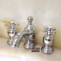 Luxury Chrome Finish Bathroom Vanity Sink 3 Hole Two Handle Widespread Faucet Bathroom Sink Faucet Basin