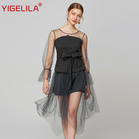 YIGELILA Latest Spring Women Mesh Long Dress Fashion O Neck Full Sleeve Empire Slim Asymmetrical Hem