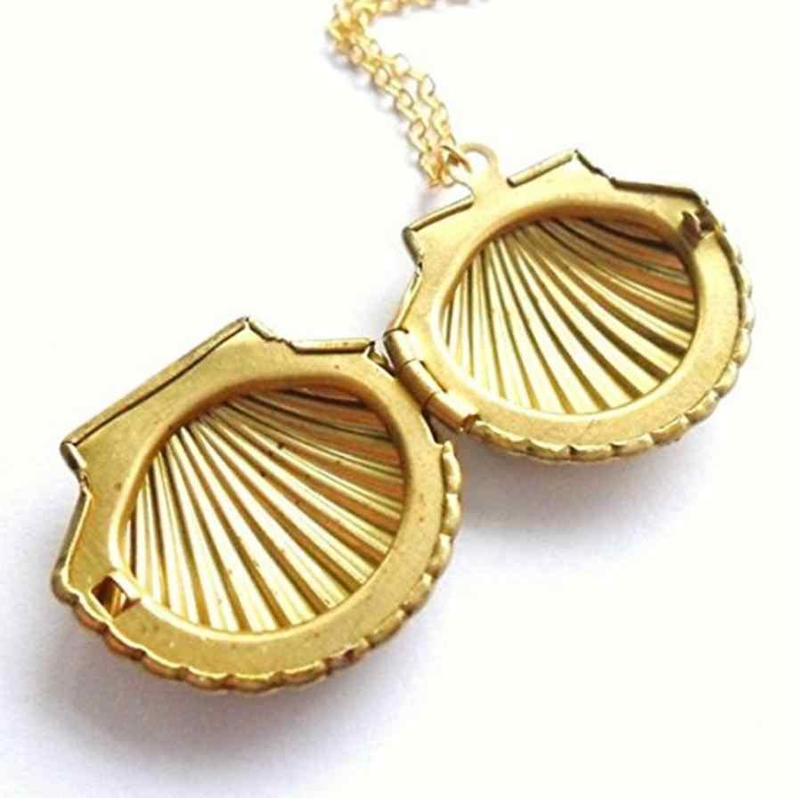 Kerang Liontin Kalung Liontin Emas Kuningan Emas Sea Shell Kalung Perhiasan Ornamen Aksesoris Kalung Luar Biasa Torsi