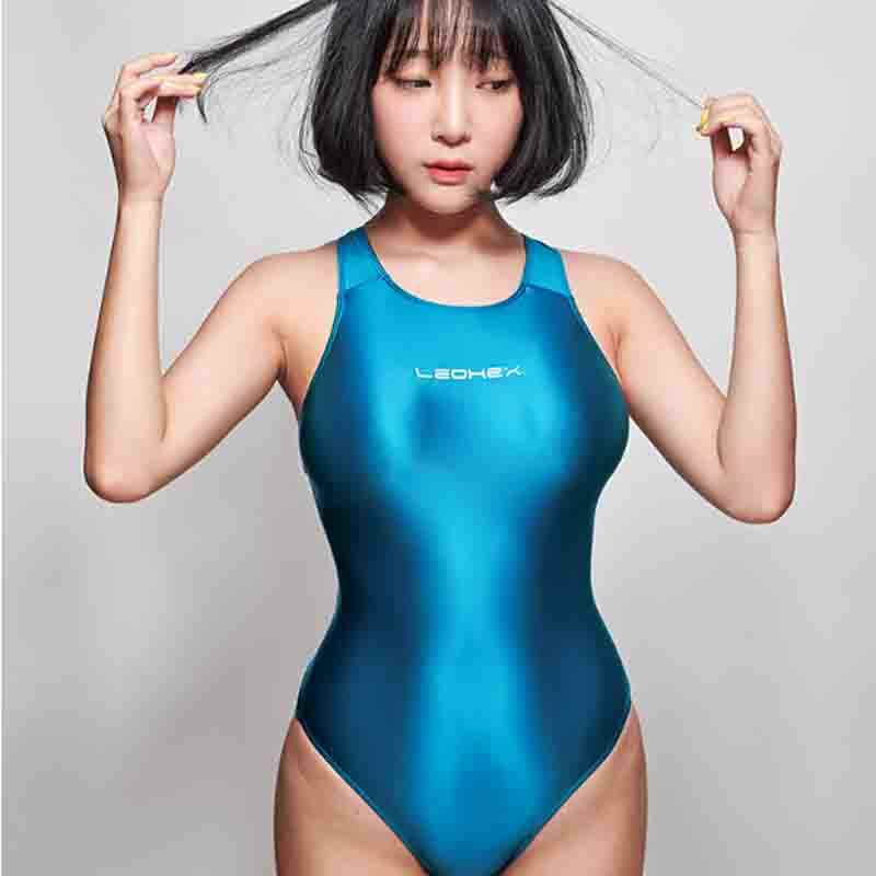 shehang Women's sexy one-piece swimming vest Satin material Slim sexy beach spa outdoor swimsuit Fashion sports tights