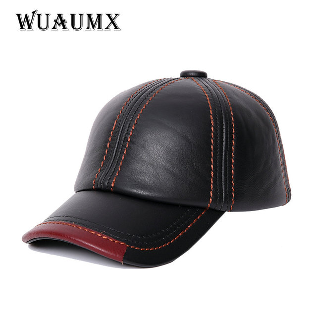 e4585a581b8 NEW Cowskin Men s Baseball Cap Lined With Cashmere Polo Cap Fall Winter  Genuine Leather Hat For Women Keep Warm Cow Leather Hat