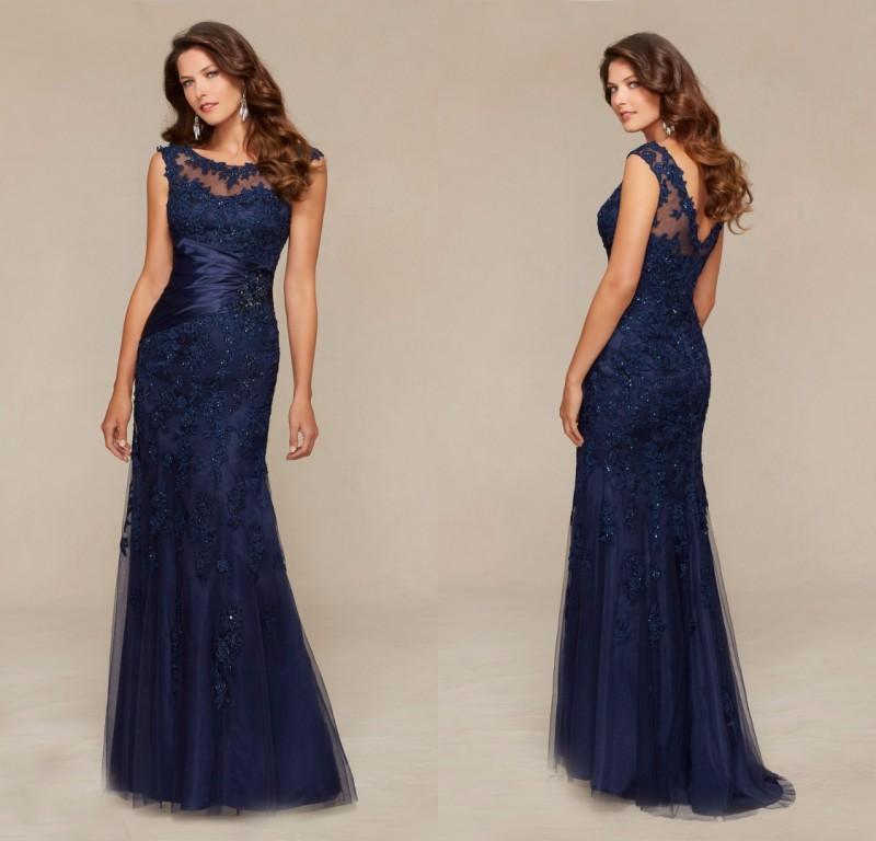 GP6-Custom-Made-Formal-Vestido-de-festa-Long-Navy-Blue-Lace-Mermaid-Evening-Dress-2016-New