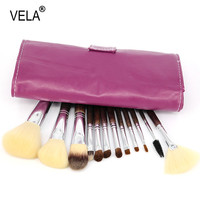 Professional 12pcs Makeup Brushes Set High Quality Purple Superfine Sable Hair Brushes Set