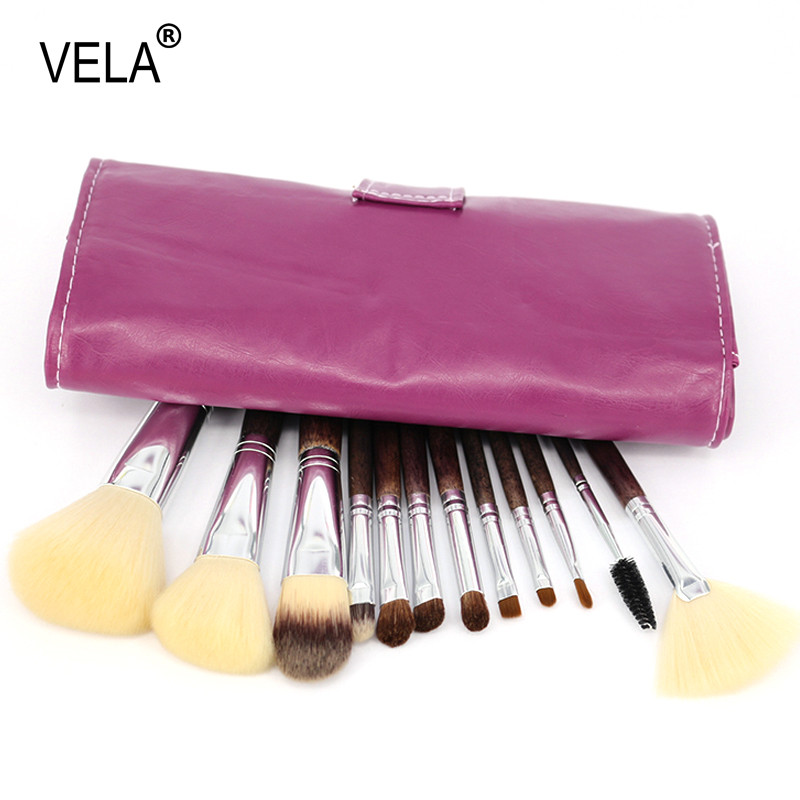 Profissional 12 pcs Pincéis de Maquiagem Conjunto Kit de Ferramentas de  Maquiagem de Alta Qualidade Natural Do Cabelo Violeta 7ef9d7cc94