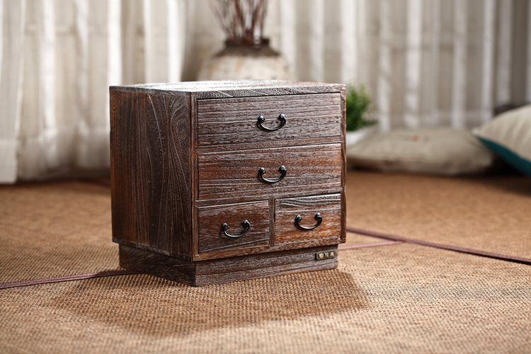 Japanese Antique Wooden 4 Drawer Cabinet Paulownia Wood Asian Traditional Furniture Living Room Small Storage Cabinet For Tea antique vintage wood bedside cabinet straw small cabinet drawer storage cabinets lockers simple paulownia wood