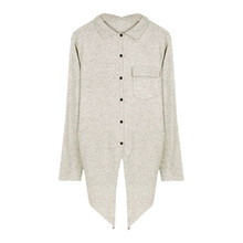 turn-down collar irregular hem single breasted cardigan sweater