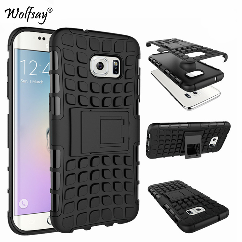 Cover For Samsung Galaxy S7 Edge Case G9350 Rubber & PC Fundas Case For Samsung S7 Edge Fashion Phone Coque With Holder Stand