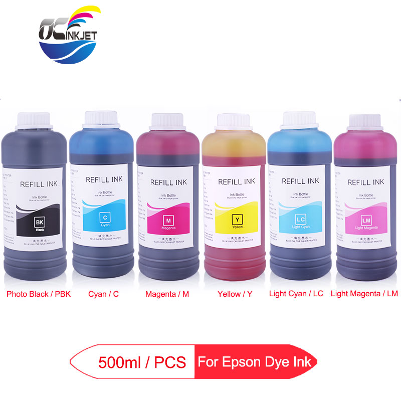 6x500ML Universal Dye <font><b>Ink</b></font> Bottle For <font><b>Epson</b></font> T50 T60 P50 P60 1390 1400 1410 1500W <font><b>R270</b></font> R290 L800 L805 L1300 L1800 Printer Dye <font><b>Ink</b></font> image
